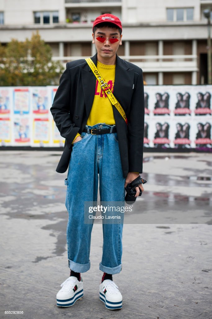 Anson Lau is seen before the Ann Demeulemeester fashion show during Paris Fashion week Womenswear SS18 on September 28, 2017 in Paris, France.