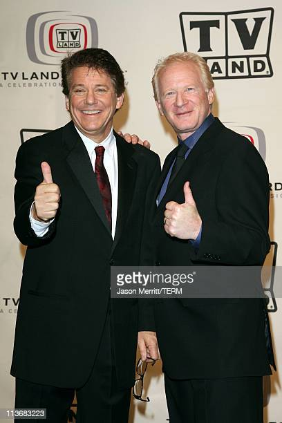 Anson Williams and Don Most performers during 2006 TV Land Awards Press Room at Barker Hangar in Santa Monica California United States