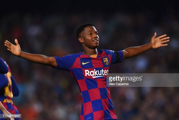Anssumane Fati of Barcelona celebrates after scoring his team's first goal during the Liga match between FC Barcelona and Valencia CF at Camp Nou on...