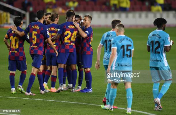Anssumane Fati of Barcelona celebrates with his team after he scores his teams first goal during the Liga match between FC Barcelona and CD Leganes...