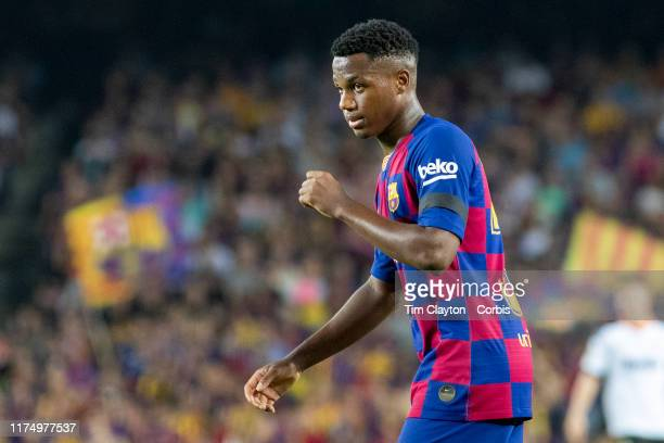 Anssumane Fati of Barcelona during the Barcelona V Valencia La Liga regular season match at Estadio Camp Nou on September 14th 2019 in Barcelona Spain
