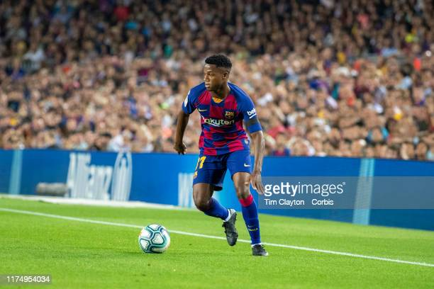 Anssumane Fati of Barcelona in action during the Barcelona V Valencia La Liga regular season match at Estadio Camp Nou on September 14th 2019 in...