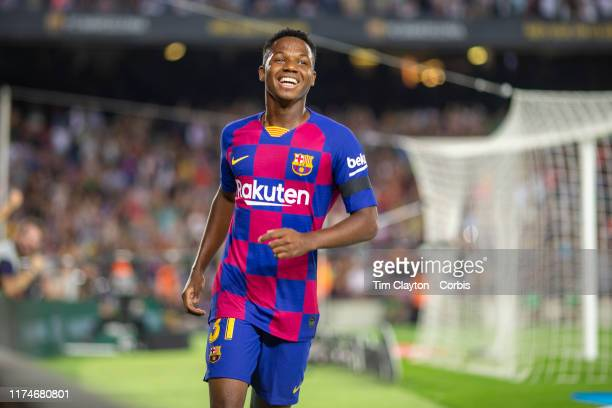 Anssumane Fati of Barcelona reacts after providing the assist for his sides second goal during the Barcelona V Valencia La Liga regular season match...
