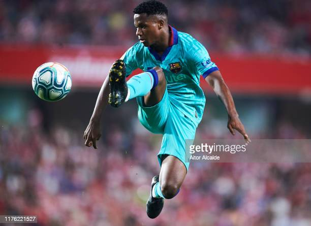 Anssumane Fati of FC Barcelona in action during the Liga match between Granada CF and FC Barcelona at Estadio Nuevo Los Carmenes on September 21 2019...