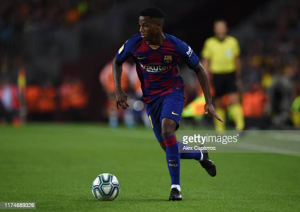 Anssumane Fati of FC Barcelona in action during the Liga match between FC Barcelona and Valencia CF at Camp Nou on September 14 2019 in Barcelona...