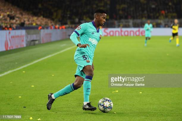 Anssumane Fati of FC Barcelona in action during the UEFA Champions League group F match between Borussia Dortmund and FC Barcelona at Signal Iduna...