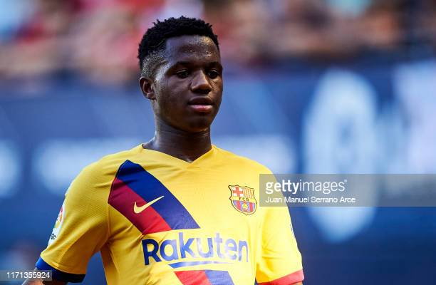 Anssumane Fati of FC Barcelona looks on during the Liga match between CA Osasuna and FC Barcelona at Estadio Reyno de Navarra on August 31 2019 in...