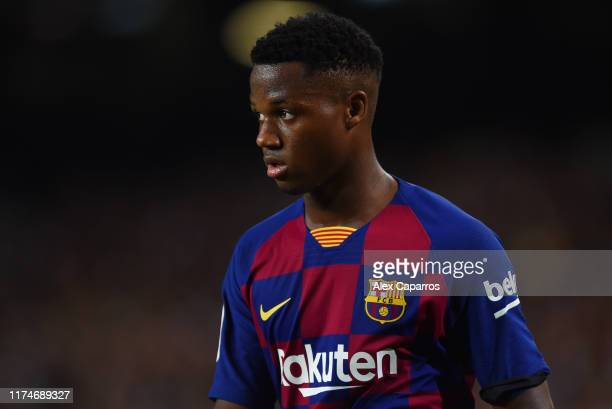Anssumane Fati of FC Barcelona looks on during the Liga match between FC Barcelona and Valencia CF at Camp Nou on September 14 2019 in Barcelona Spain