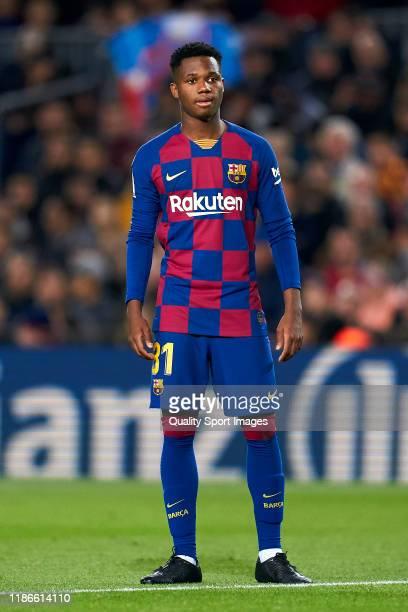 Anssumane Fati of FC Barcelona looks on during the Liga match between FC Barcelona and RC Celta de Vigo at Camp Nou on November 09 2019 in Barcelona...
