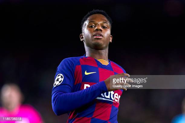 Anssumane Fati of FC Barcelona looks on during the UEFA Champions League group F match between FC Barcelona and Slavia Praha at Camp Nou on November...