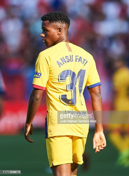 Anssumane Fati of FC Barcelona reacts during the Liga match between CA Osasuna and FC Barcelona at Estadio Reyno de Navarra on August 31 2019 in...
