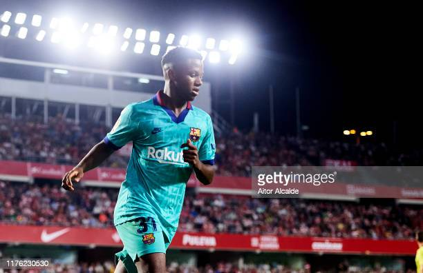 Anssumane Fati of FC Barcelona reacts during the Liga match between Granada CF and FC Barcelona at Estadio Nuevo Los Carmenes on September 21 2019 in...