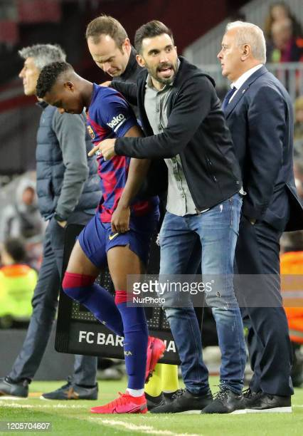 Ansu Fati and Eder Sarabia during the match between FC Barcelona and Real Sociedad corresponding to the week 27 of the Liga Santander played at the...