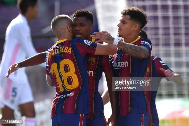 Ansu Fati of Barcelona celebrates after he scores his team's first goal during the La Liga Santander match between FC Barcelona and Real Madrid at...