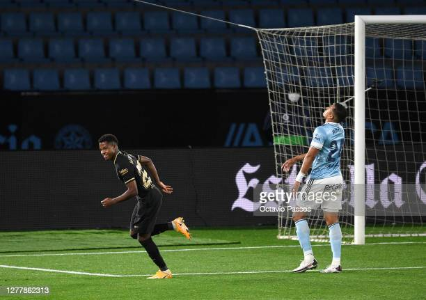 Ansu Fati of Barcelona celebrates after scoring his team's first goal during the La Liga Santander match between RC Celta and FC Barcelona at...