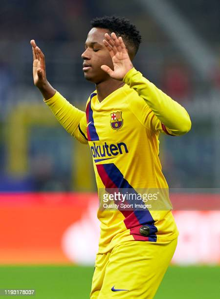 Ansu Fati of Barcelona celebrates after scoring his team's second goal during the UEFA Champions League group F match between Inter and FC Barcelona...