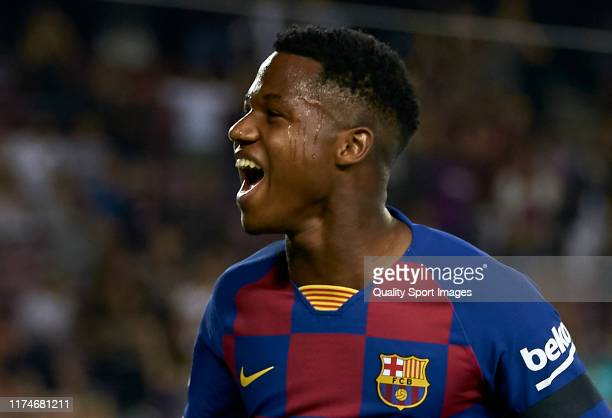 Ansu Fati of Barcelona celebrates after the second goal of his team scored by Frenkie de Jong during the Liga match between FC Barcelona and Valencia...