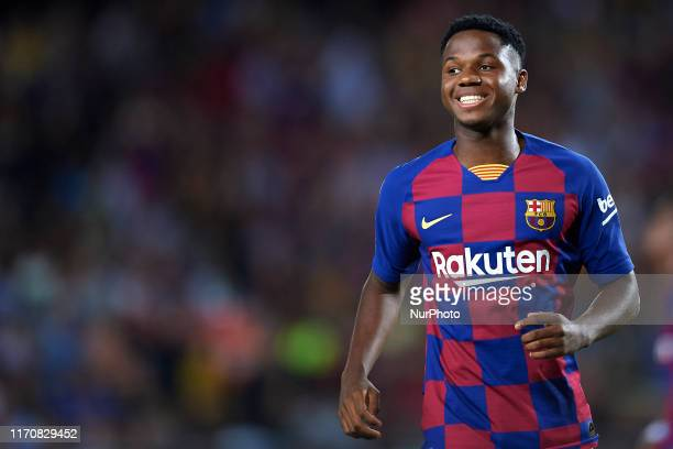 Ansu Fati of Barcelona in action during the Liga match between FC Barcelona and Villarreal CF at Camp Nou on September 24 2019 in Barcelona Spain