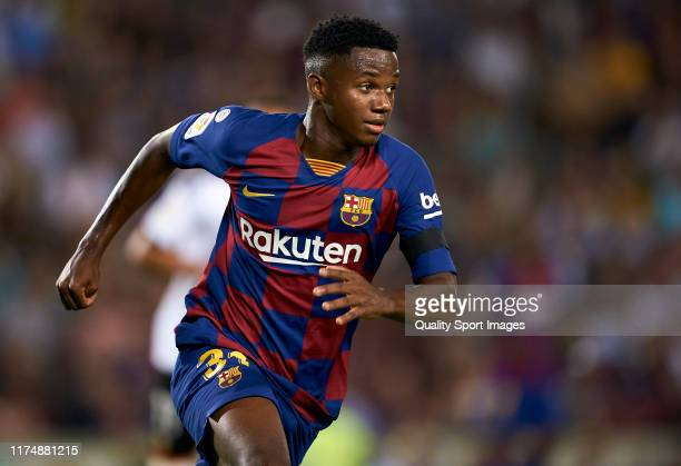 Ansu Fati of Barcelona in action during the Liga match between FC Barcelona and Valencia CF at Camp Nou on September 14 2019 in Barcelona Spain