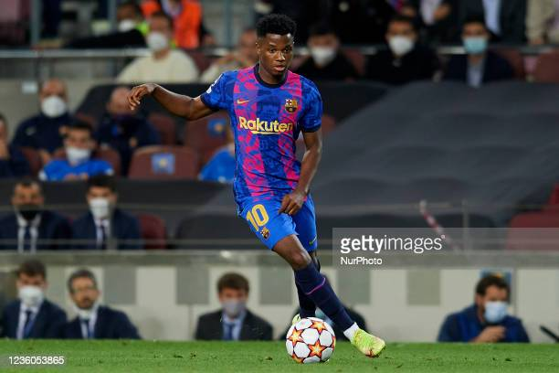 Ansu Fati of Barcelona in action during the UEFA Champions League group E match between FC Barcelona and Dinamo Kiev at Camp Nou on October 20, 2021...