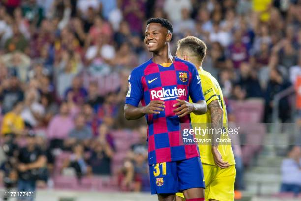 Ansu Fati of Barcelona reacts after shooting wide during the Barcelona V Villarreal La Liga regular season match at Estadio Camp Nou on September...