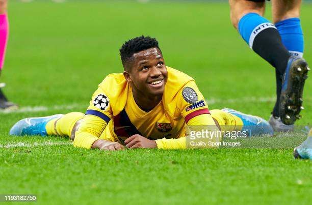 Ansu Fati of Barcelona reacts on the pitch during the UEFA Champions League group F match between Inter and FC Barcelona at Giuseppe Meazza Stadium...