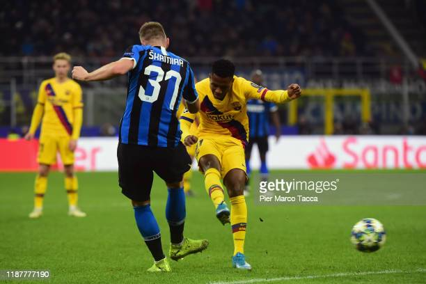 Ansu Fati of FC Barcellona scores his first goal during the UEFA Champions League group F match between Inter and FC Barcelona at Giuseppe Meazza...