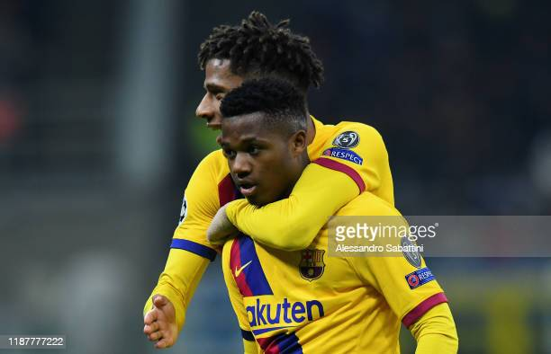 Ansu Fati of FC Barcelona celebrates after scoring his team second goal during the UEFA Champions League group F match between Inter and FC Barcelona...