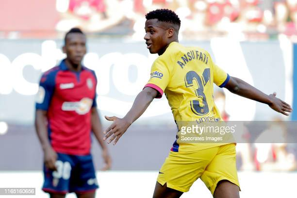 Ansu Fati of FC Barcelona celebrates during the La Liga Santander match between Osasuna v FC Barcelona at the Estadio El Sadar on August 31 2019 in...