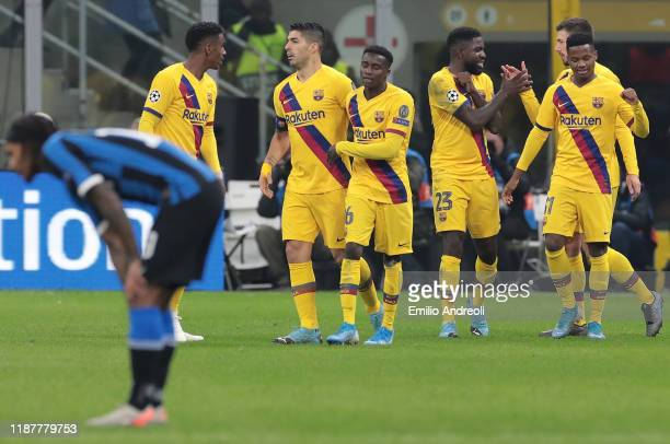 Ansu Fati of FC Barcelona celebrates his goal with his teammates during the UEFA Champions League group F match between FC Internazionale and FC...