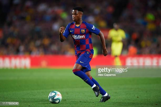 Ansu Fati of FC Barcelona conducts the ball during the Liga match between FC Barcelona and Villarreal CF at Camp Nou on September 24 2019 in...