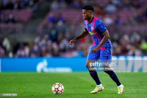 Ansu Fati of FC Barcelona controls the ball during the UEFA Champions League group E match between FC Barcelona and Dinamo Kiev at Camp Nou on...