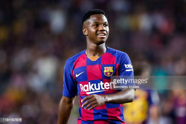 Ansu Fati of FC Barcelona during the La Liga Santander match between FC Barcelona v Real Betis Sevilla at the Camp Nou on August 25 2019 in Barcelona...