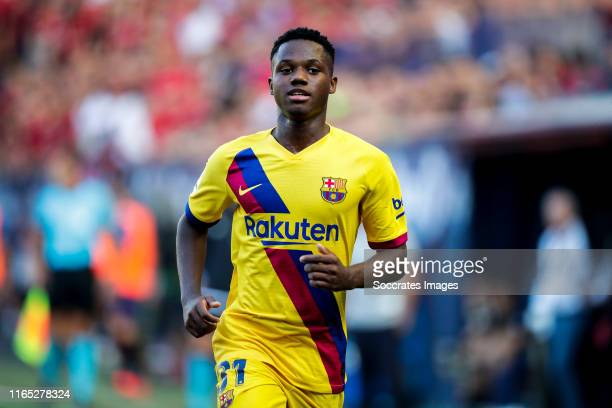 Ansu Fati of FC Barcelona during the La Liga Santander match between Osasuna v FC Barcelona at the Estadio El Sadar on August 31 2019 in Pamplona...