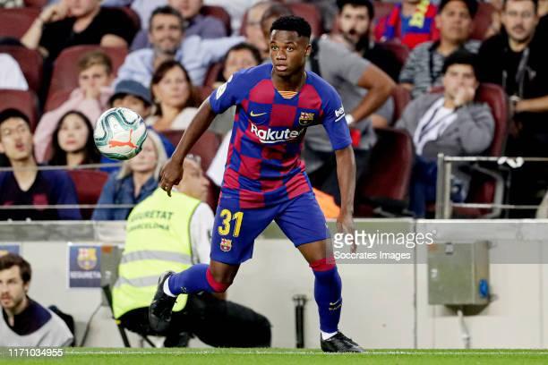 Ansu Fati of FC Barcelona during the La Liga Santander match between FC Barcelona v Villarreal at the Camp Nou on September 24 2019 in Barcelona Spain