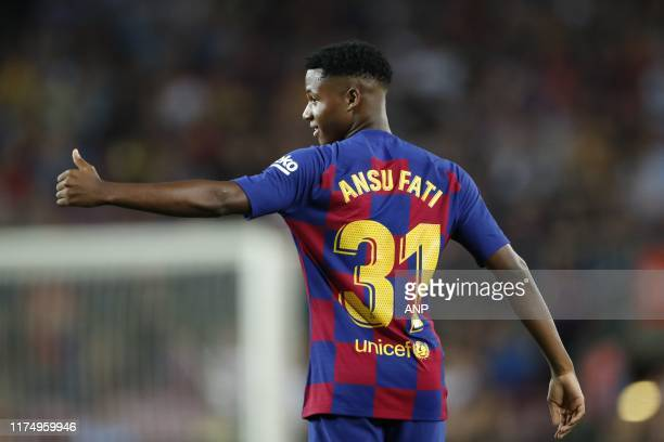 Ansu Fati of FC Barcelona during the LaLiga Santander match between FC Barcelona and Villarreal CF at the Camp Nou stadium on September 24 2019 in...
