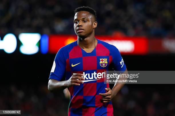 Ansu Fati of FC Barcelona follows the action during the Copa del Rey round of 16 match between Barcelona and Leganes at Camp Nou on January 30 2020...