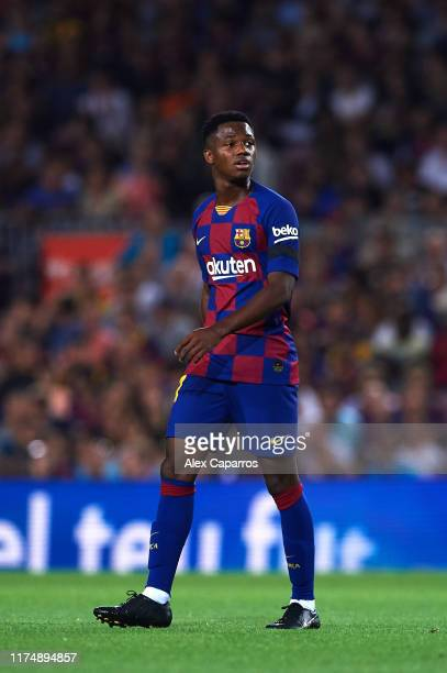 Ansu Fati of FC Barcelona looks on during the La Liga match between FC Barcelona and Valencia CF at Camp Nou on September 14 2019 in Barcelona Spain