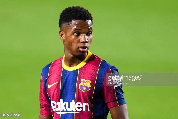 Ansu Fati of FC Barcelona looks on during the La Liga Santander match between FC Barcelona and Villarreal CF at Camp Nou on September 27, 2020 in...