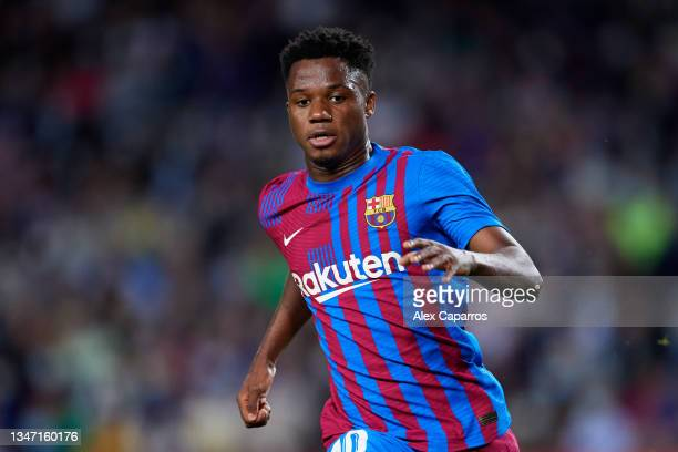 Ansu Fati of FC Barcelona looks on during the LaLiga Santander match between FC Barcelona and Valencia CF at Camp Nou on October 17, 2021 in...