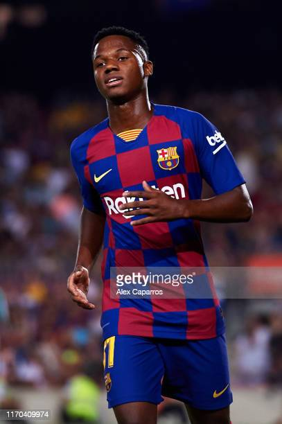 Ansu Fati of FC Barcelona looks on during the Liga match between FC Barcelona and Real Betis Balompie at Camp Nou on August 25 2019 in Barcelona Spain