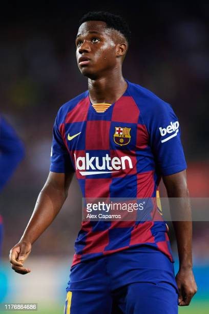 Ansu Fati of FC Barcelona looks on during the Liga match between FC Barcelona and Villarreal CF at Camp Nou on September 24 2019 in Barcelona Spain