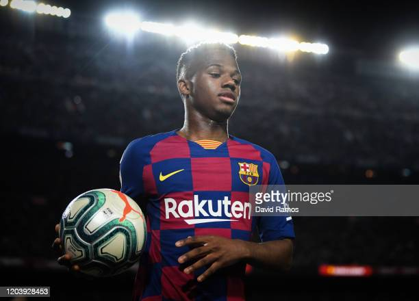 Ansu Fati of FC Barcelona looks on during the Liga match between FC Barcelona and Levante UD at Camp Nou on February 02, 2020 in Barcelona, Spain.