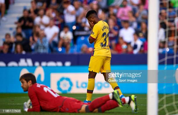 Ansu Fati of FC Barcelona reacts during the Liga match between Levante UD and FC Barcelona at Ciutat de Valencia on November 02 2019 in Valencia Spain