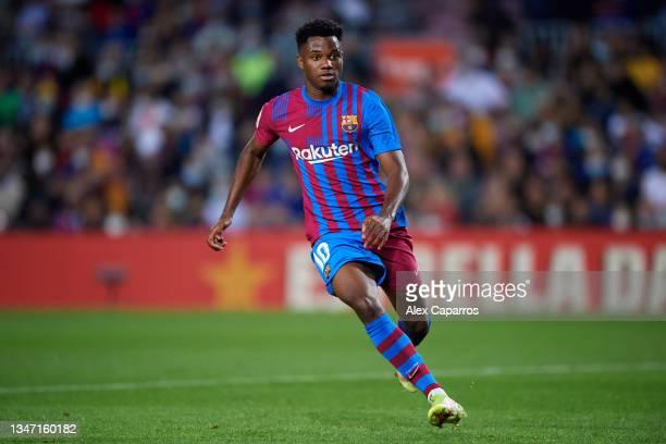 Ansu Fati of FC Barcelona runs during the LaLiga Santander match between FC Barcelona and Valencia CF at Camp Nou on October 17, 2021 in Barcelona,...