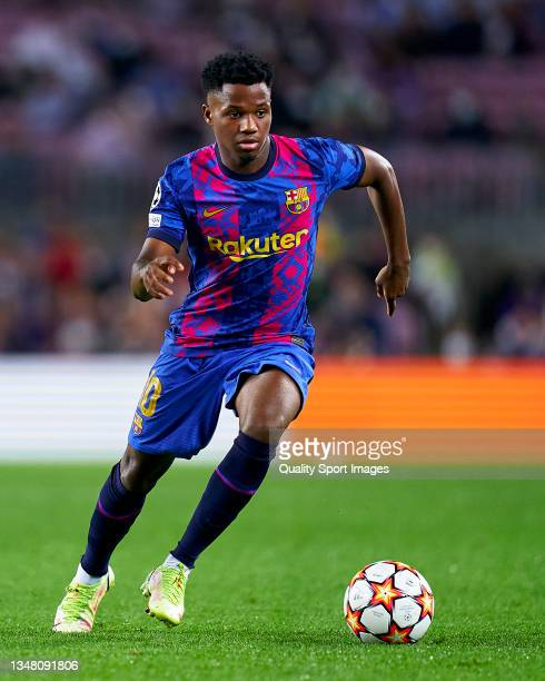 Ansu Fati of FC Barcelona runs with the ball during the UEFA Champions League group E match between FC Barcelona and Dinamo Kiev at Camp Nou on...