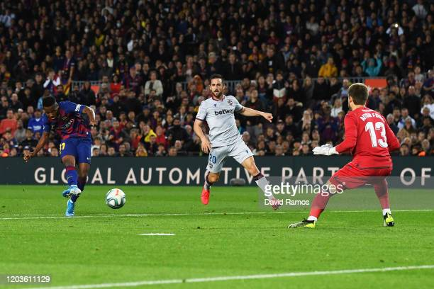 Ansu Fati of FC Barcelona scores his sides first goal during the Liga match between FC Barcelona and Levante UD at Camp Nou on February 02, 2020 in...
