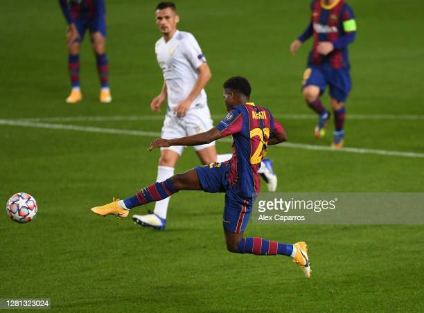 Ansu Fati of FC Barcelona scores his sides second goal during the UEFA Champions League Group G stage match between FC Barcelona and Ferencvaros...