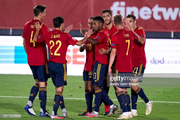 Ansu Fati of Spain celebrates after scoring his team's third goal during the UEFA Nations League group stage match between Spain and Ukraine at...
