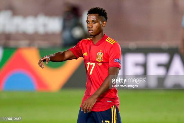 Ansu Fati of Spain during the UEFA Nations league match between Spain v Switzerland on October 10, 2020